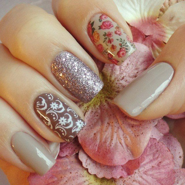 Beige dress nails, May nails, Spring nail art, Spring nail designs, Spring nails by gel polish, Spring shellac nails