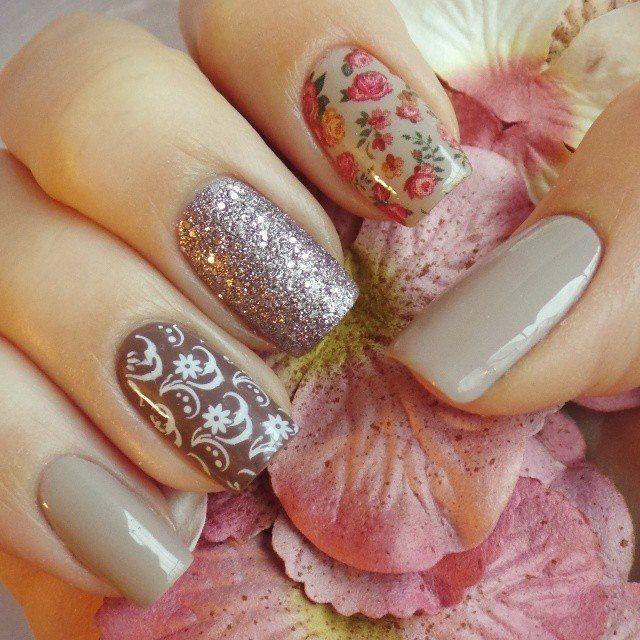 Beige dress nails, May nails, Spring nail art, Spring nail designs, Spring nails by gel polish, Spring shellac nails