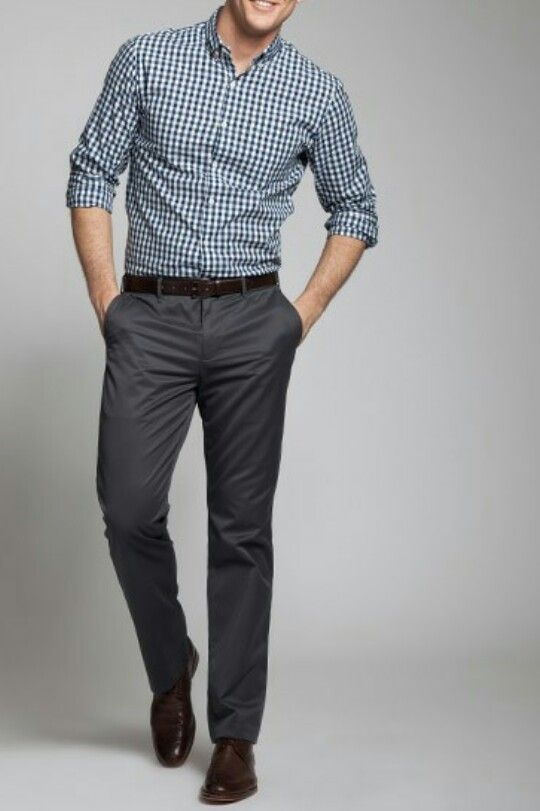 gray gingham dress shirt. gray slacks. black belt/shoes. awesome. casual Friday. style.
