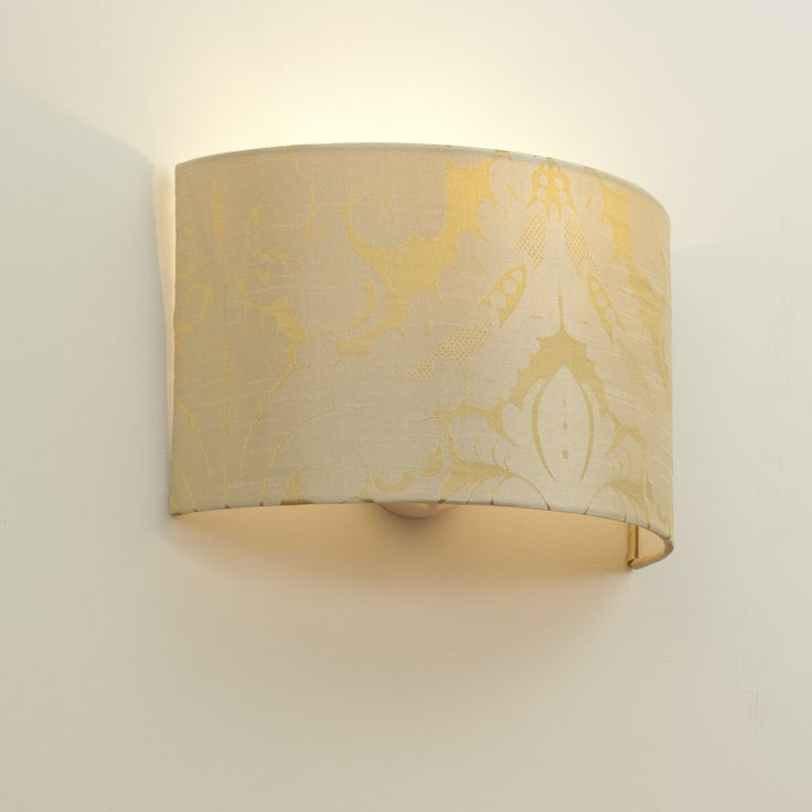 Wall Shade Bracket with Carlyle Half Shade in Cream and Gold Chatsworth Damask