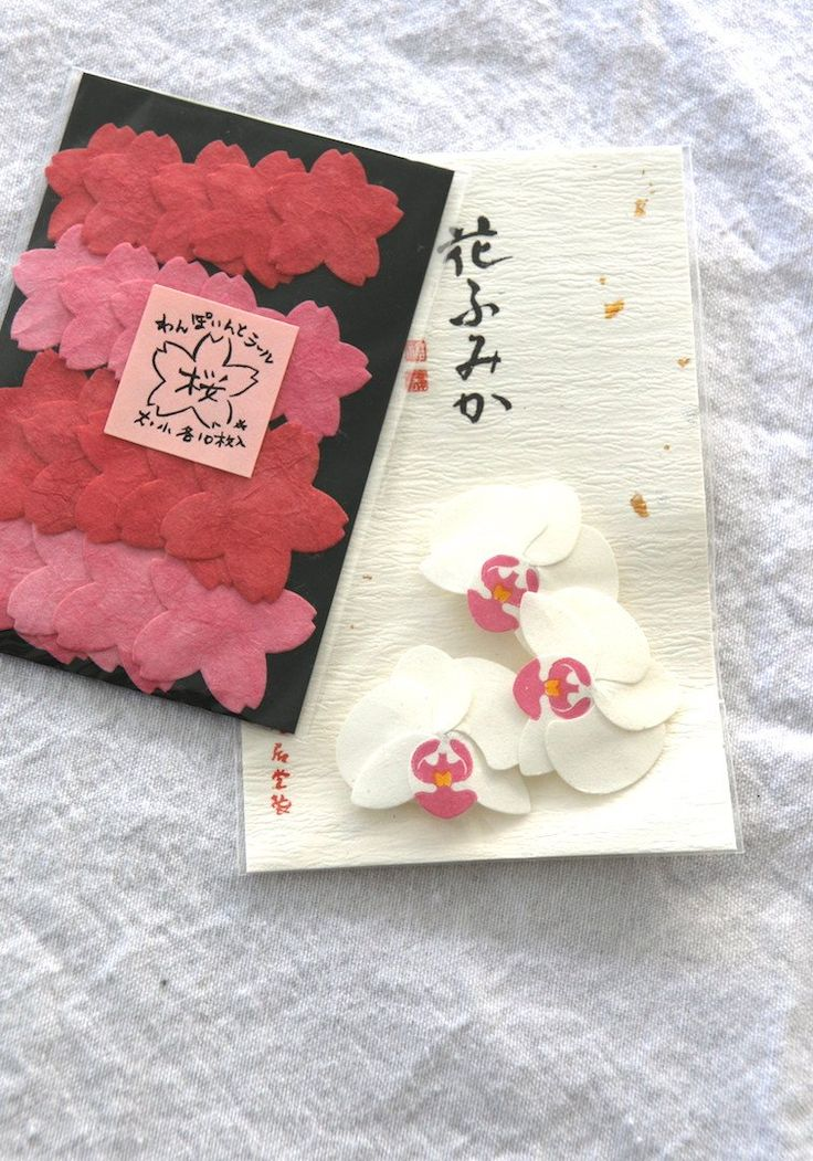 Pretty in pink cherry blossom and orchid shaped Japanese paper sticker seals