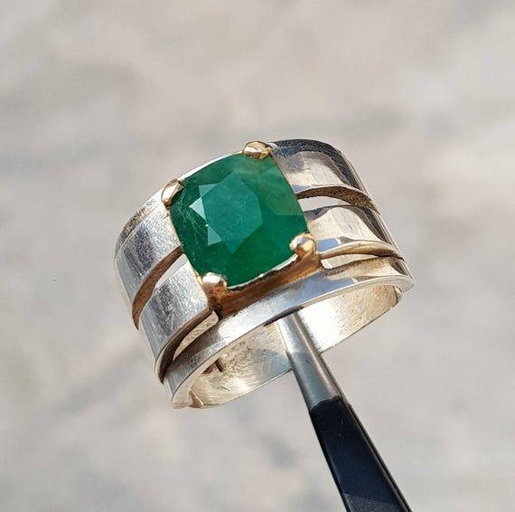 Unheated Untreated 4 Ct Emerald Cut Rich Green Natural Fluorite Mens Ring Sterling Silver 925 Handmade Green Emerald Ring Panna Zamurd Ring