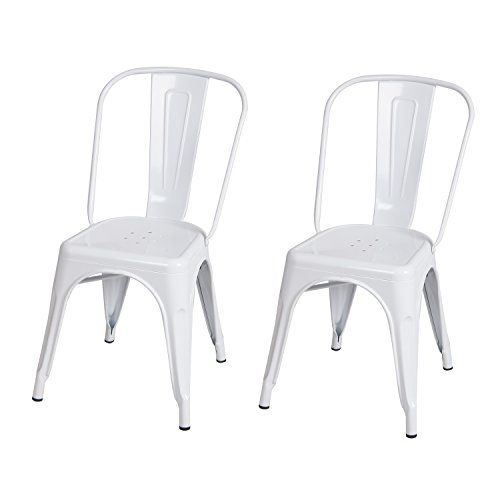 Special Offers - 2016 NEW ARRIVAL! Adeco Metal Stackable Industrial Chic Dining Bistro Cafe side Chairs Glossy White Set of 2 - In stock & Free Shipping. You can save more money! Check It (May 04 2016 at 07:27PM) >> http://kitchenislandusa.net/2016-new-arrival-adeco-metal-stackable-industrial-chic-dining-bistro-cafe-side-chairs-glossy-white-set-of-2/