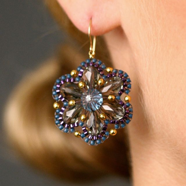 Miguel Ases Crystal Drop Earrings with Blue Seed Beads