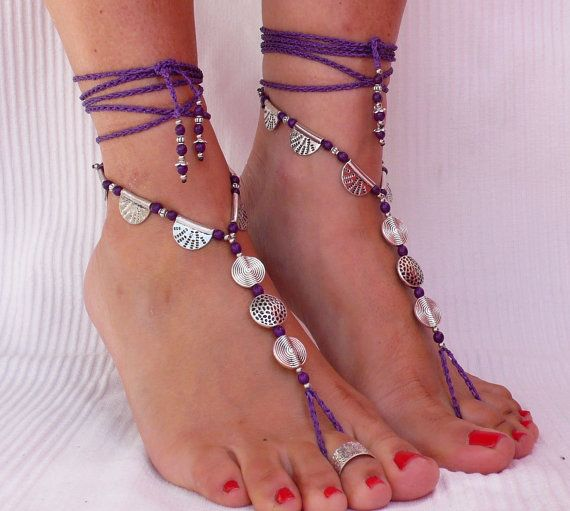Silver ETHNIC BAREFOOT SANDALS Purple foot jewelry hippie sandals toe ring anklet crochet barefoot tribal sandals beach yoga wedding