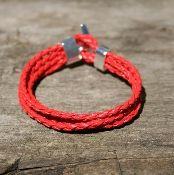 Red PU Leather Braid Bracelet