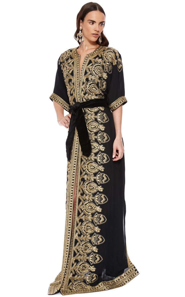 Naeem Khan Black And Gold Embroidered Caftan by Naeem Khan for Preorder on Moda Operandi