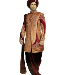 Buy Gold Brocade Zari Thread Zardosi sherwani wedding-sherwani online