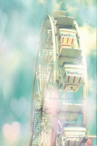 Carnival Ferris Wheel Photos, Dreamy Aqua Ferris Wheel Hearts Photo, Baby Child Nursery Decor, Ferris Wheel Photos 8 x 12 via Etsy