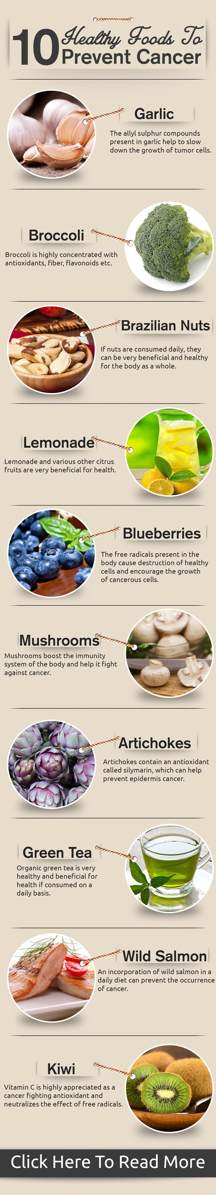 10 healthy foods to prevent cancer. #MindfulEating #CancerPrevention #HealthyEating www.OurMLN.com