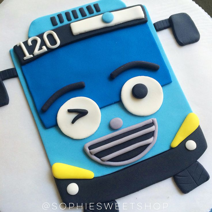tayo the little bus cake topper [instagram: @sophiesweetshop and sophiesweetshop.com in carson, california]