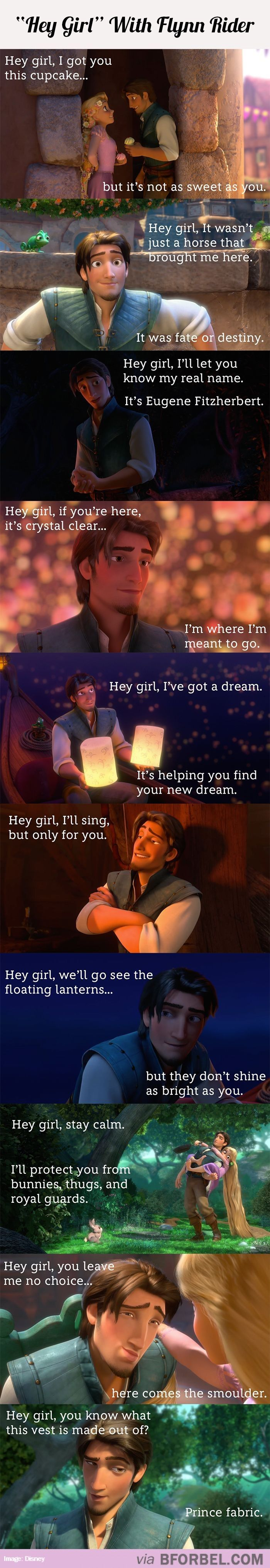 Oh my gosh... Flynn Rider pick up lines. They just had to go there. *shakes head*