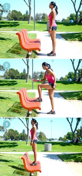 Next time you take a walk in the park, consider doing a few of these moves after each lap. This one? Step ups!
