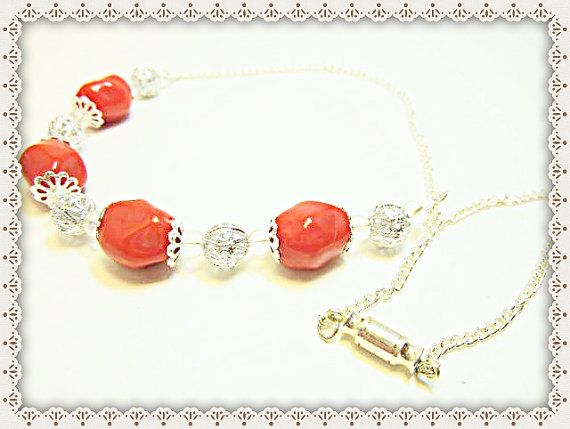 Chunky Red Necklace~Red Chunky Necklace~Red Chunky Beaded Necklace With Silver Accent Beads~Women's Jewellery