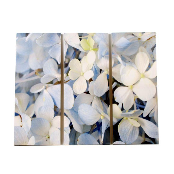 Canvas blauwe bloemen - Stijlvolle & Betaalbare Wanddecoratie | wanddecoratiestore.be
