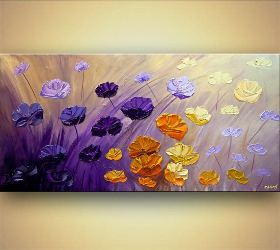 Decor Painting Purple floral painting 48 x 24 by OsnatFineArt