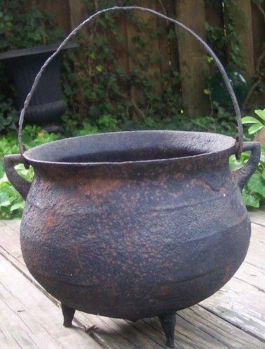 Antique Cast Iron Cauldron 19thc Fireplace Hearth Kettle