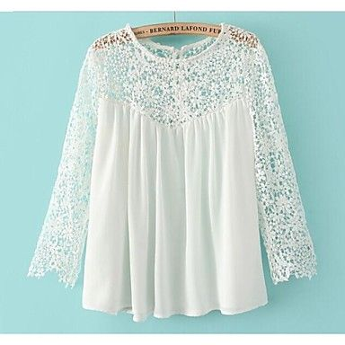 Women's Crochet Splicing Chiffon Blouse with Lace Blouse - USD $ 21.59