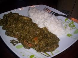 Cassava leaves and rice