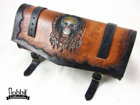 Handmade Motorcycle tool bag Indian Skull by HobbitLeatherworks