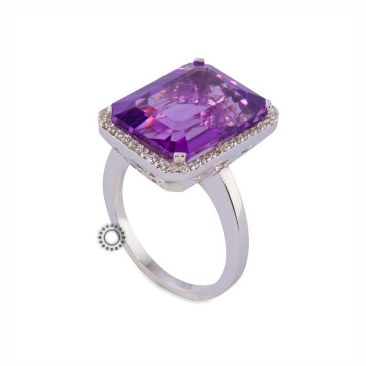 Εντυπωσιακό λευκόχρυσο δαχτυλίδι Κ18 με αμέθυστο & μικρά διαμάντια μπριγιάν | Δαχτυλίδια με ορυκτές πέτρες ΤΣΑΛΔΑΡΗΣ στο Χαλάνδρι #αμέθυστος #διαμάντια #μονόπετρο #δαχτυλίδι