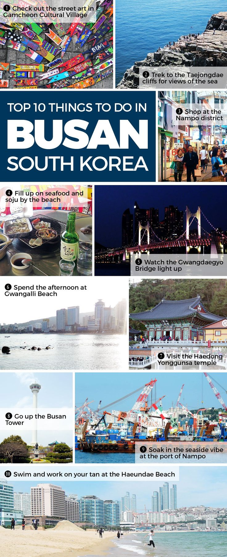 Top 10 things to do in Busan: For a laidback seaside city, Busan certainly has a lot to offer. Foodie, shopaholic, nature lover, or culture buff, Busan's got your covered. Check out the top things to do in Busan and click through for a detailed guide!