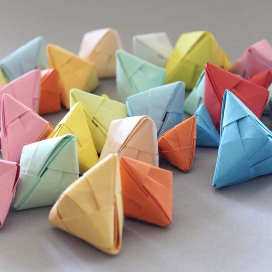 DIY - Origami fortune cookies, love messages, Sonobe folding, tutorial in German with images.