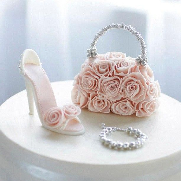 Romantic and chic #shoe and handbag #cake - Visit http://www.craftcompany.co.uk/ for all your cake decorating products.