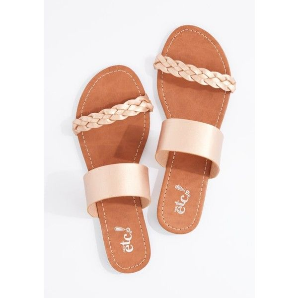 Metallic Rose Gold Braided Band Flip Flop | Flip Flops | rue21 ❤ liked on Polyvore featuring shoes, sandals, flip flops, woven flip flops, braided shoes, braided sandals, metallic sandals and woven shoes