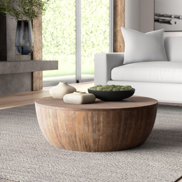 Solid Wood Solid Coffee Table Round Wood Coffee Table Teak Coffee Table Drum Coffee Table