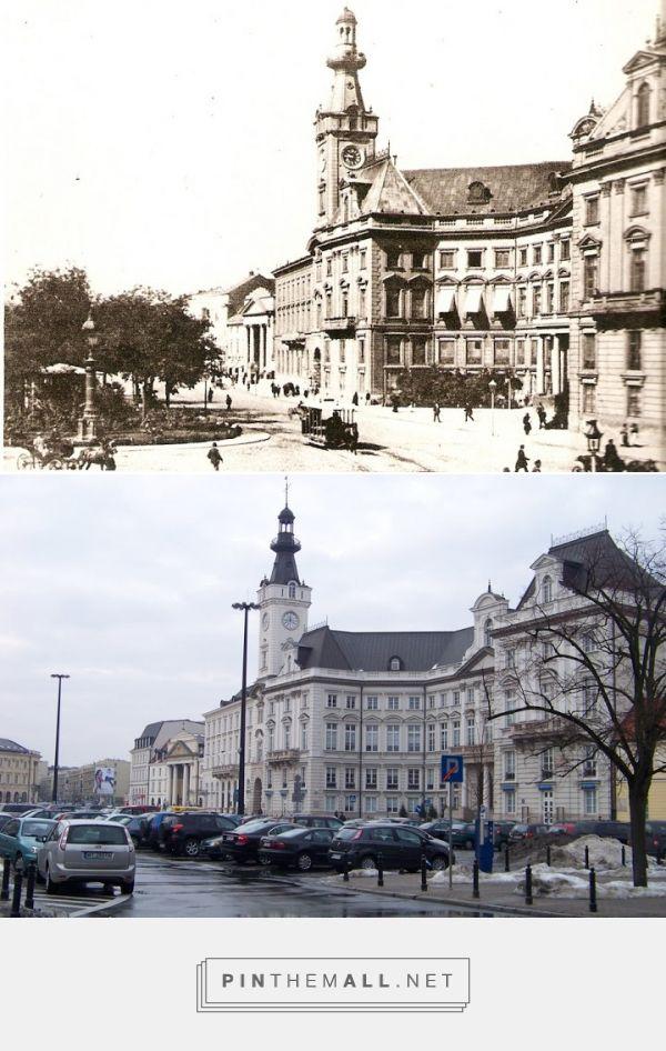 Plac Teatralny w stronę zachodnią w ostatniej dekadzie XIX wieku i w 2011 r. - created via https://pinthemall.net
