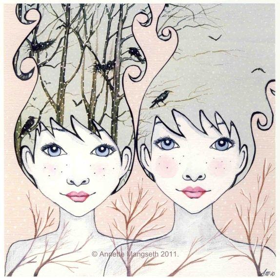 Tvillinger - Signert trykk Twins - art by Annette Mangseth - Carambatack Design