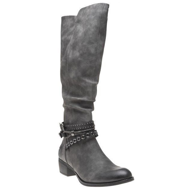 Size 4 grey, knee high, stretch boots from Marco Tozzi