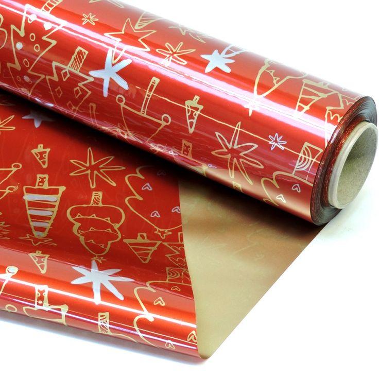Envoltorios con motivos de navidad celof n doble cara - Papel de regalo navidad ...