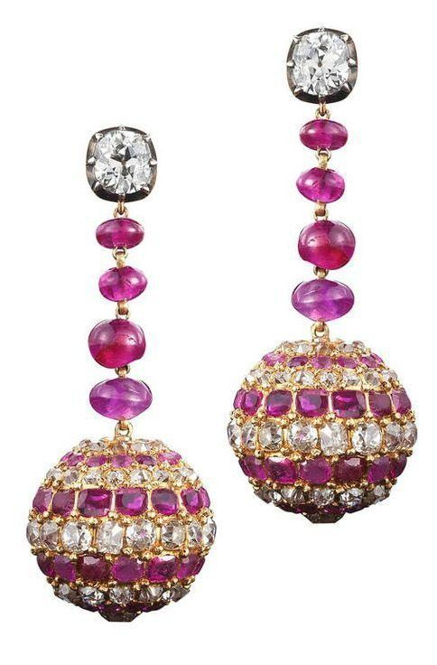 Antique Victorian ruby and diamond earrings, circa 1880. With 9 carats of diamonds and almost 9 carats of rubies.