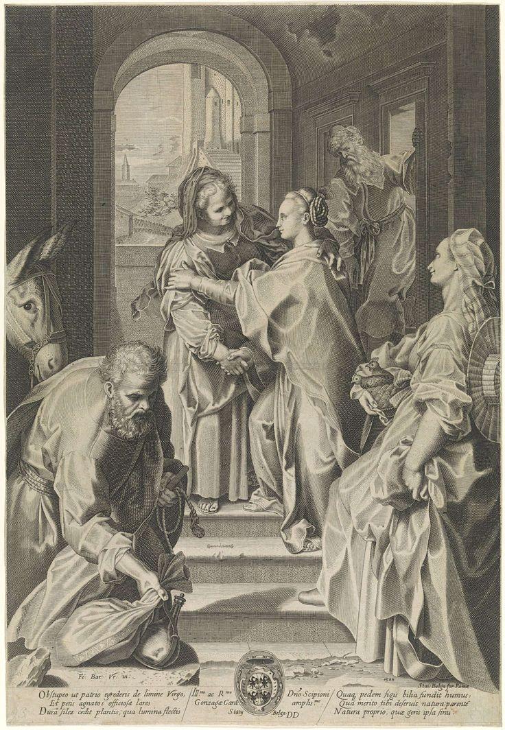 Gijsbert van Veen   Visitatie, Gijsbert van Veen, Anonymous, Scipione Gonzaga, 1588 - 1628   Maria en Elisabet begroeten elkaar op de trappen van een huis. Op de voorgrond Jozef bij de ezel en een dienstmaagd met een mand met twee duiven. Onder in het midden een kardinaalswapen.