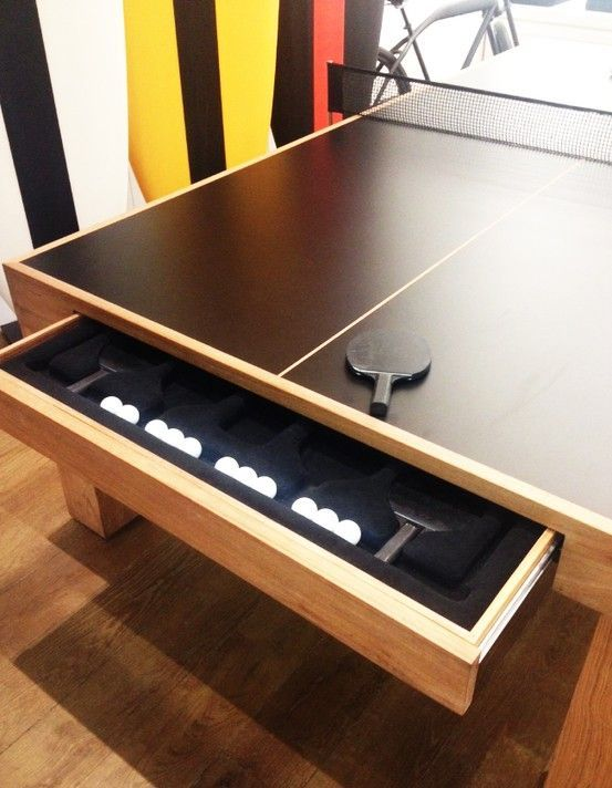 Table Tennis Room Design: Built-in Ping Pong Storage. Not Many Tables Come With Such