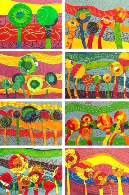 Hundertwasser flowers- like the mixed media