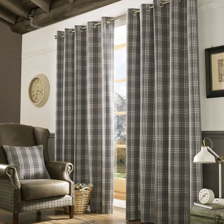 10% Archie Slate Grey Silver Ready Made Lined Eyelet Ring Top Tartan Curtains