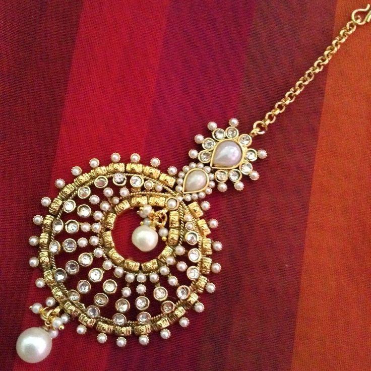 Beautiful Pearl Polki Mang Tikka Jhoomar Indian Ethnic