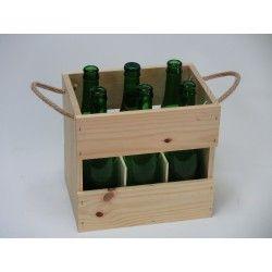 Caja de madera para seis botellas de cerveza