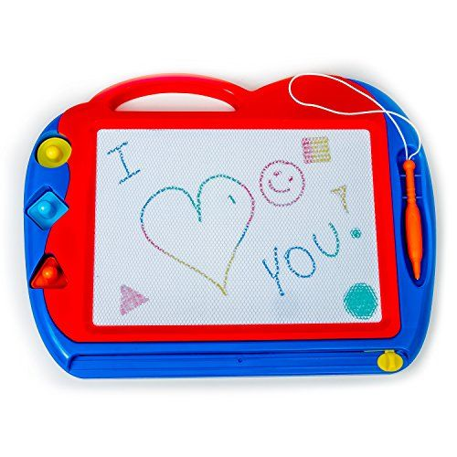 Magnetic Drawing Board ToyDoodle Board for Kids Best Children Writing Playing Scetch Pad Includes Stylus Stamps and Knob Eraser Made of NonToxic Materials The Best Learning Toy for your Kids ** Continue to the product at the image link.Note:It is affiliate link to Amazon.