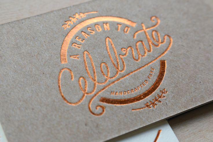 http://www.riseandshinepaper.com/wp-content/uploads/2015/06/Duplexed-Copper-Foil-BC-Jennifer-Shaw-by-Rise-Shine-Letterpress-3.jpg  A foil stamped business card.