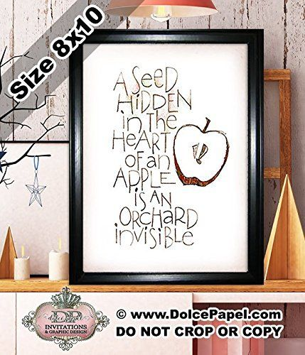 Shimmery Metallic APPLE SEED ORCHARD Quote Modern Art Deco Framed Art Print Size 8x10 Black Frame Great Teacher's Gift. Framed Art Print printed on SHIMMER METALLIC card stock with gloss printing. A true piece of art to hang or sit in any area of your home! Looks great in an office, bathroom, kitchen or any wall or table. Frames are for hanging or displaying on tables. Size is 8x10. Frame is black but *may vary in shape and accent color (gold or silver)*. If you order more than one, all…