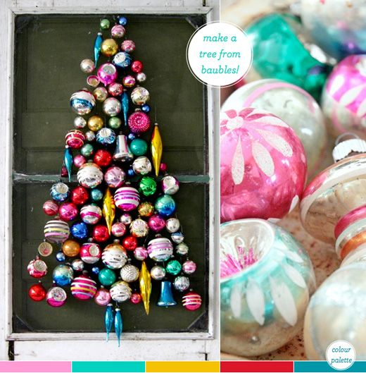 A Last-Minute Colourful Decorating Idea!!! A tree of vintage Shine Brute ornaments!!! Bebe'!!!