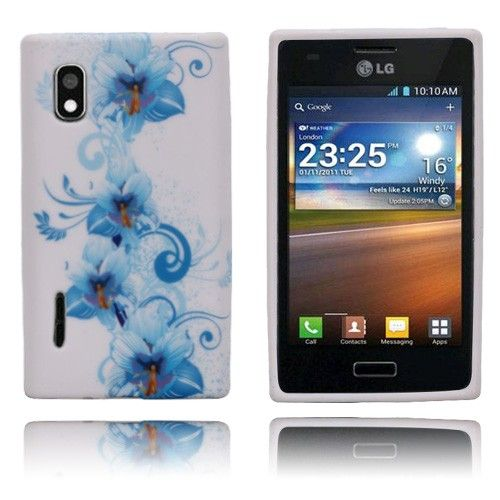 Symphony (Blå Blomster) LG Optimus L5 Deksel