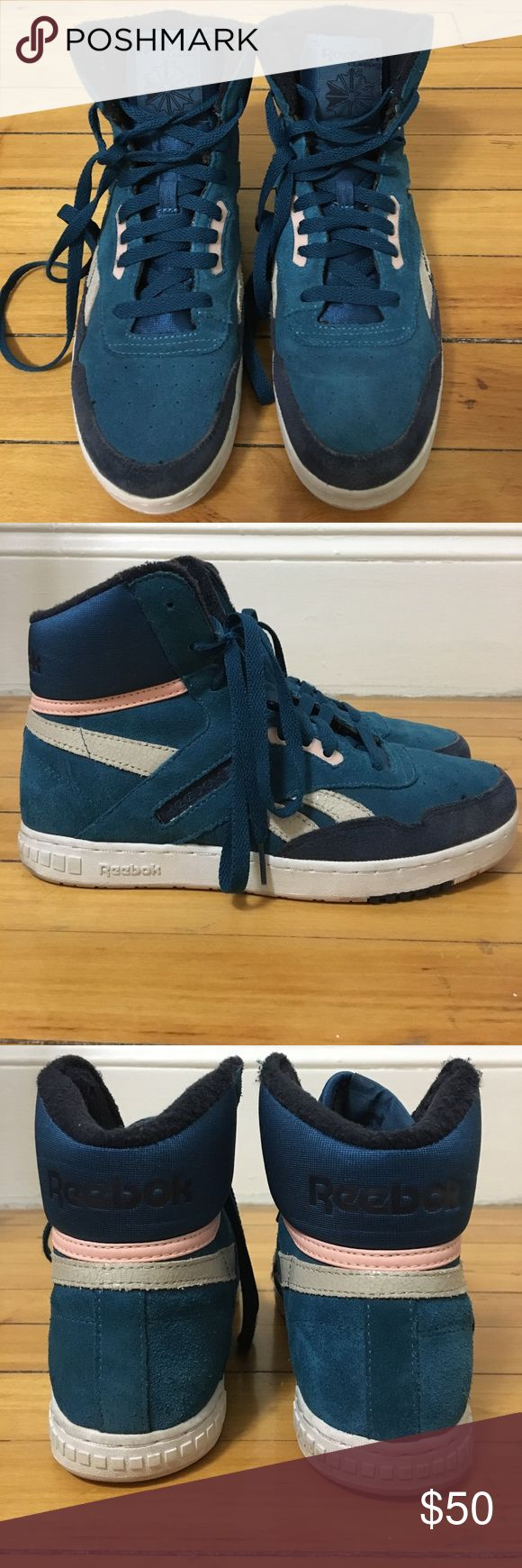 Reebok Classic Suede x Snakeskin Hightops Reebok Classic Suede x Snakeskin Hightops in Blue // Navy // Pink // Off-White branding. Plush around the ankle, Size 9 Reebok Shoes Sneakers