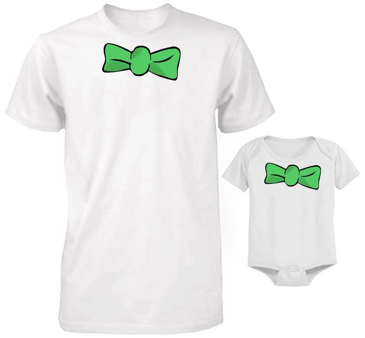 FATHER AND BABY SET T-SHIRT AND BODYSUIT SET FUNNY FANCY DRESS GREEN BOW SET #Unbranded