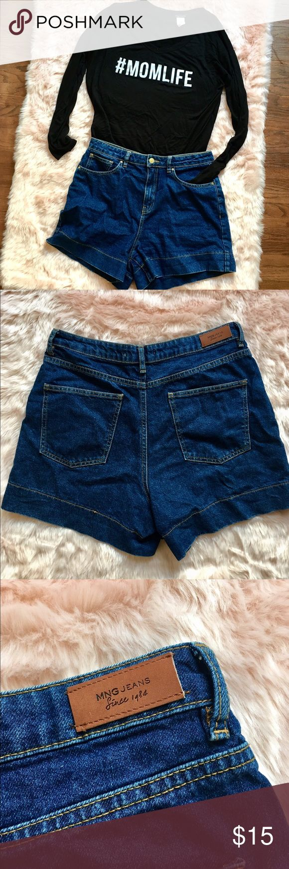 MANGO vintage look high-waisted shorts Super Comfy and cute shorts! The size is cut out cause it itched me, but fits like a 10. Mango Shorts Jean Shorts