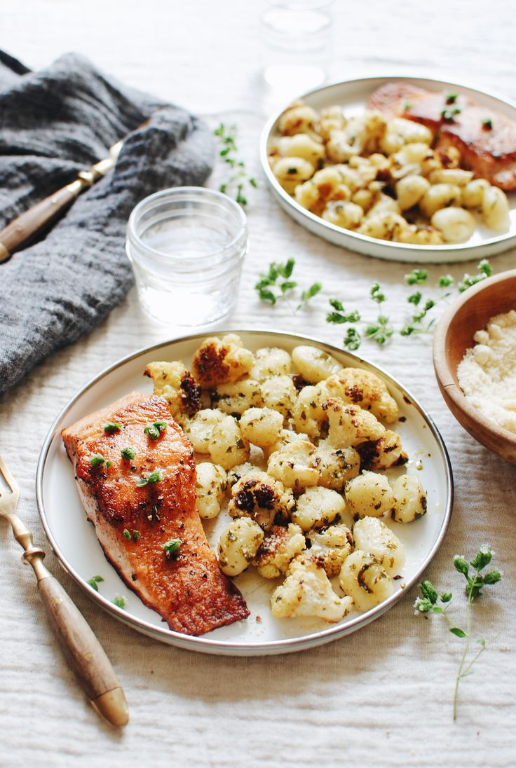 Seared Salmon with Roasted Cauliflower and Gnocchi / Bev Cooks
